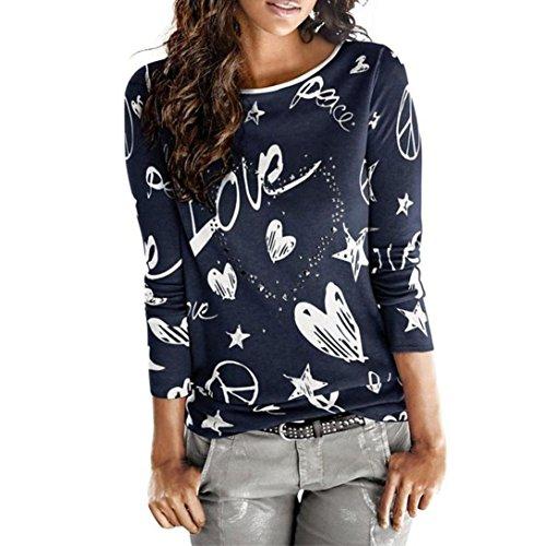 VEMOW Heißer Verkauf Frauen Damen Sommer Herbst Langarm Brief Gedruckt Hemd Beiläufige Bluse Lose Baumwolle Tops T-ShirtMarineEU-40/CN-S