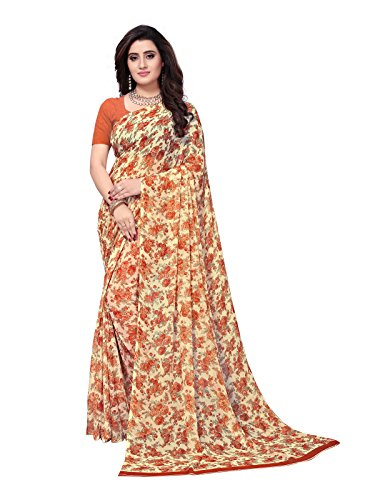 Kanchnar Women's Cream Color Georgette Printed Saree-758S154