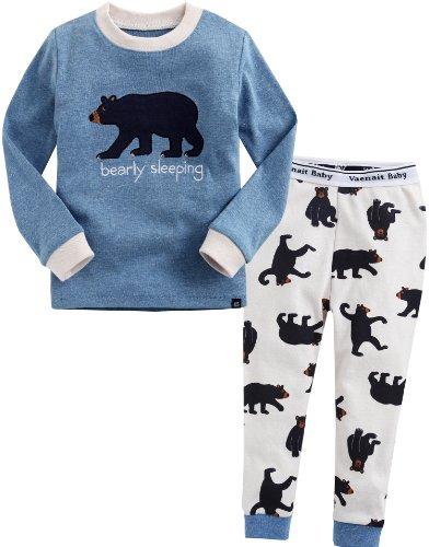 Vaenait Baby Säugling Kinder Langarm zweiteilige Schlafanzüge Set Animal Funny Bear Blue M