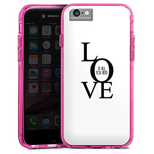 Apple iPhone 6s Bumper Hülle Bumper Case Glitzer Hülle Love Liebe Amour Bumper Case transparent pink