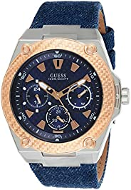 Guess Mens Quartz Watch, Analog Display and Leather Strap W1058G1