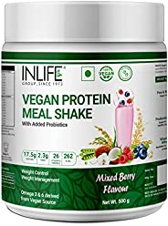 INLIFE Vegan Plant Based Protein Powder Nutritional Meal Replacement Shake, 17.5g Protein, 26 Vitamins & M