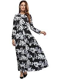 Vestidos De Mujer De Manga Larga, Nuevo, Verano Estampados, Cuello Redondo, Manga Larga, Grandes Faldas,Blanco Y Negro,S