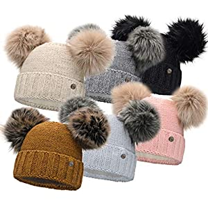 HEYO Damen Wintermütze mit Fleece Innenband Slouch Beanie Winter Mütze | Warme Strickmütze mit Zwei Bommeln | Bommelmütze mit Katzenohren