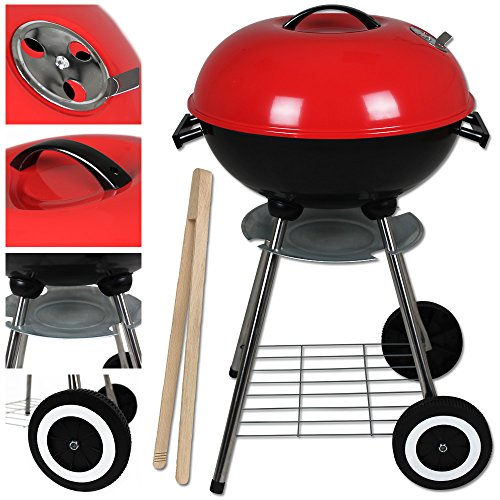 Standgrill mit Grillzange - Kugelgrill - Holzkohlegrill - kleiner Grill - Campinggrill