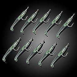RUNGAO 10 señuelos de pesca luminosos de goma para cebo de imitación de pequeño anguila, señuelo de hundimiento lento con gancho, herramienta para aparejos de pesca, S