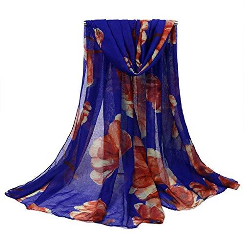 YOUR LIFE Seidenschal Schal Frau stilvolle Stempel Bali Strandtuch, Sonnencreme schal Geschenk Dekor blau 0 * 90 cm (Dekor Bali)