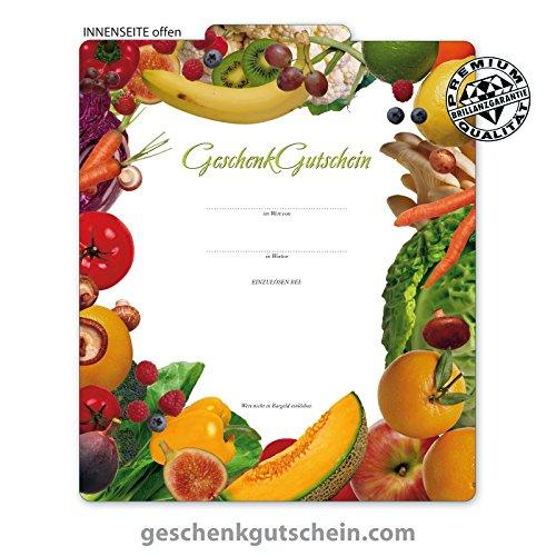 """10 Stk. Premium Geschenkgutscheine Gutscheine zum Falten""""Multicolor"""" für Obst- und Gemüsehändler OG230, LIEFERZEIT 2 bis 4 Werktage!"""