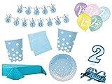 XXL Party Deko Set 2.Geburtstag Kindergeburtstag 53 teilig blau/gold Junge Party Geschirr Party Deko
