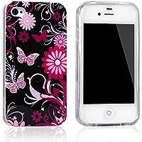 tinxi® Silikon Schutzhülle für iPhone 4S Etui Skin iPhone 4 Silicon Schale Cover schwarz mit pink Schmetterling (Nummer9)