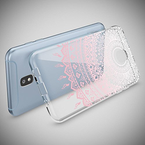 Samsung Galaxy J7 2017 (EU-Model) Case Phone Cover by NICA, Thin Silicone Pattern Back Protector Soft Skin, Crystal Clear Gel Shockproof Bumper, Slim Transparent Protective, Designs:Mandala Blue Cyan Mandala Pink