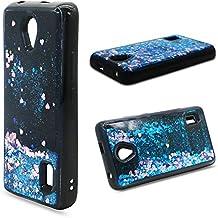 Funda Huawei Y635 Quicsand Cáscara Silicona TPU Diseño 3D Creativo Caso Líquido Flotante Arena Movediza Bling Gliter Brillo Polvo Suelto Lentejuelas Protectora Transparente Cubierta (Amor azul)