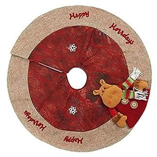Surfmalleu Falda de árbol de Navidad de Terciopelo 1,2M Falda de árbol de Copos de Nieve Rojo y Blanco Burdeos (Ancianos)