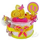 MomsStory - mini Windeltorte Mädchen | Babygeschenk | Geschenk zur Geburt, Taufe, Babyshower | 1 Stöckig (Rosa/Gelb)
