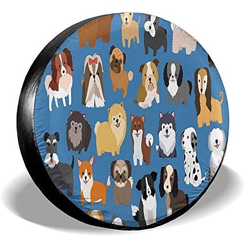 N/A Tipi di Cani in copertoni per Pneumatici Blu Cartoon Coperchio Ruota di scorta Ecologico Portatile Impermeabile Universale da 16 Po