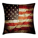 RAINNY American Flag Decor Throw Pillow Cushion Cover, United States Flag with Damaged Effects And Dated Macro National Pride Photo, Decorative Square Accent Pillow Case, 18 X 18 Inches, Multi