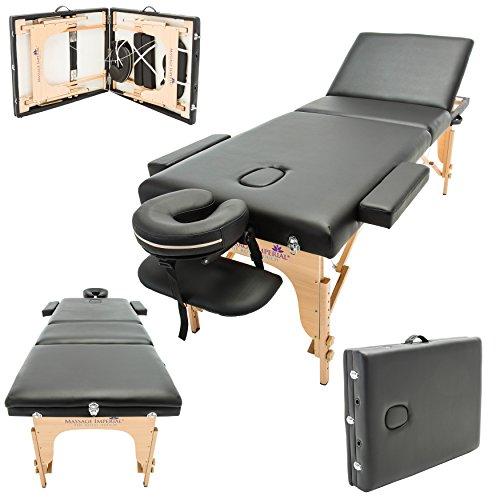 Massage Imperial® - tragbare Profi-Massageliege Arlington - leicht 16 Kg - 3 Zonen - 3-teilig - Schwarz