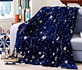 NIBESSER Kuscheldecke Tagesdecke Mikrofaser Coral-Fleece Wohn-Decke Bettüberwurf 150×200 cm (Stern)