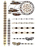 DISTRESSED KLIMBIM Bling your Body mit Flash Metallic Tattoos Gold Schmuck Tattoo für Körper Finger Arme viele Designs (No.22)