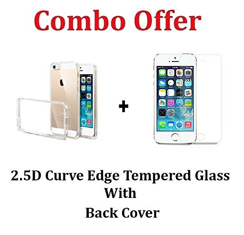 M.G.R.J [ Apple iPhone 5 / 5S / 5C ] Transparent Cover + Ballistic Tempered Glass Screen Protector (Front / Back)