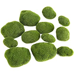 Gefälschte Moss Rocks Haofy Moos Felsen künstliche Moos Rocks Simulation Gras Bryophyte Bonsai Garten Faux grüne Moos bedeckt Steine DIY Landschaft Decor (12 Stück, grün)