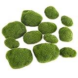 Deko Moossteine Künstliche Steine für Aquarium, Terrarium, Miniatur Garten Dekoration 12pcs