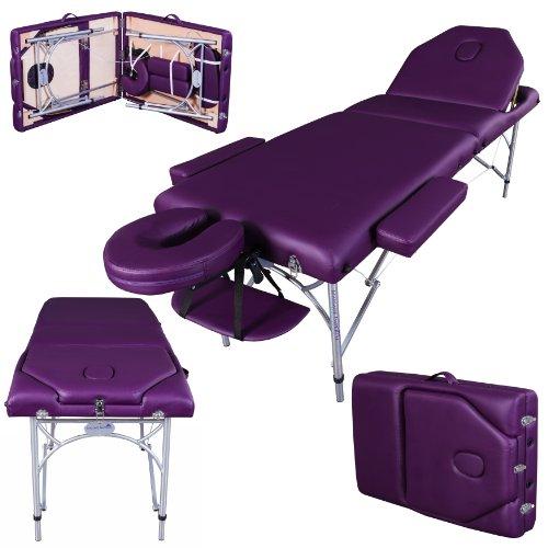 Massage Imperial® - tragbare Massageliege Caversham - leicht - Aluminium - 7 cm Schaum - Violett Aluminium-tragbare Massageliege
