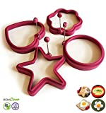 Breakfast Egg Mould Rings by HomeQuip - 4 Fun & Creative Shaped Cooking Stencils | Premium Food Grade Silicone Non-Stick Mould for Healthy Breakfast | Create Perfect Pancakes, Omelettes and Eggs | Family Pack (Set of 4)