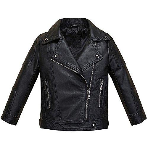 LJYH Baby Boys Girls Fashion PU Leather Jacket Kids Zipper Coat