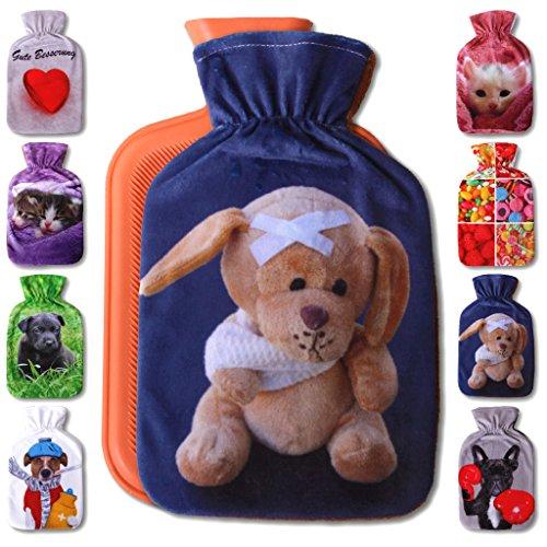 Wärmflaschenbezug 1L, mit und ohne Wärmflasche 1 Liter, Auswahl: Teddybär, mit Wärmflasche