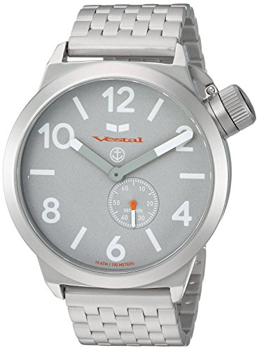 Vestal 'Canteen Metal' Quartz Stainless Steel Casual Watch, Color:Silver-Toned (Model: CNT453M09.7SVM)