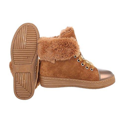 Sneakers High Damenschuhe Sneakers High Warm Gefütterte Schnürsenkel Ital-Design Freizeitschuhe Camel 8302