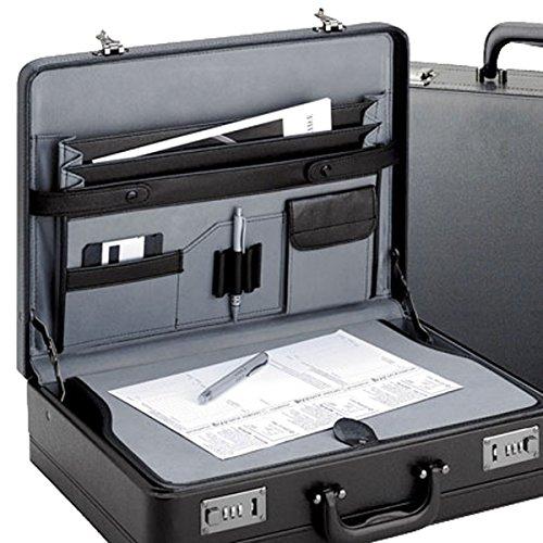 Aktenkoffer von D&N-Lederwaren - extra breit - Schreibplatte - 46x33x12/14cm - Dehnfalte - shwarz