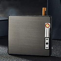 Boîtes à Cigarettes avec Briquet,Coupe-Vent Anti-écrasé Métal Plus Léger Étui à Cigarette,USB Rechargeable sans Flamme Plus Léger Pack De Tabac Outil pour Fumeur,Black