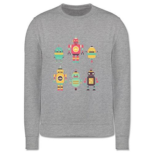 Shirtracer Up to Date Kind - Bunte Roboter - 9-11 Jahre (140) - Grau meliert - JH030K - Kinder Pullover