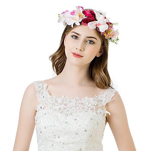 and Hochzeit Haarkranz Blume Krone (Hellrosa + dunkelrot) (Einfach Kostüme Zu Machen)