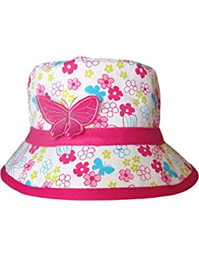 Girls Floral & Mariposa Estilo De Cubo Verano Sol Sombrero Playa