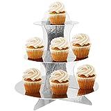 Trixes 3-etagiger wiederverwendbarer Cupcake Muffin Ständer aus Karton in Metallic Silber - 3