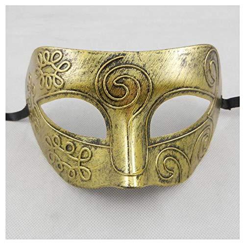 Halloween-Maske Half Face Flat Head Retro Erwachsenen Persönlichkeit Half Face Cool Gut aussehend Venezianische Maske Herren Vibrato (Color : Vintage copper)
