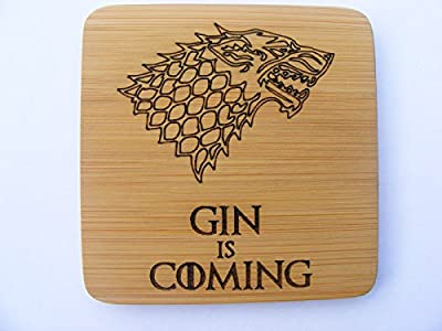 FastCraft BAMBOO GIN IS COMING GAME OF THRONES INSPIRED COASTERS DRINKS MAT ENGRAVED NOVELTY BIRTHDAY PRESENT WEDDING HOUSE WARMING GIFT LASER ENGRAVED STARK WINTER WOLF