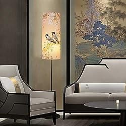 Chinesische Stil Stehlampe Schlafzimmer Wohnzimmer Studie Nachttischlampe vertikale Tischlampe Ölgemälde Stoff Lampenschirm E27 Lampenfassung (Farbe : A)