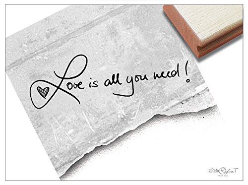 Stempel -Textstempel Love is All You Need! Handschrift- Schriftstempel Valentinstag Glückwünsche zur Hochzeit, Karten Gastgeschenke Deko- zAcheR-fineT -