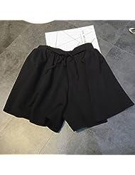 WHTLL-Lady coréenne Leisure Wide Leg Pantalons Shorts Bandage taille