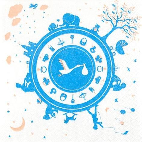 Newborn Blue 33 x 33 cm 3 lagig, Lunch Servietten Napkins Tissues, für den gedeckten Tisch, Party, Fest, Thema, Veranstaltung, Jungen (Party Thema Für Jungen)