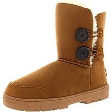 Mujeres Doble Button totalmente alineada botas piel impermeable de la nieve del invierno