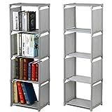 from tinkertonk tinkertonk 4 Tier Kids Bookcase Garment Storage Shelves Organizer Children Bedroom Display Shelving Unit (Gray)