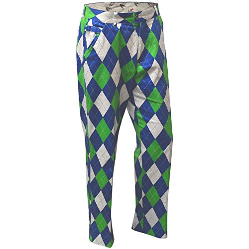 Royal & Awesome Blues auf die grünen Funky Golf Hose Gr. 36W/30L, Blue/Green/White