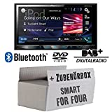 Smart ForFour 454 - Pioneer AVH-X5800DAB - 2DIN Multimedia Autoradio inkl. DAB Antenne - Einbauset