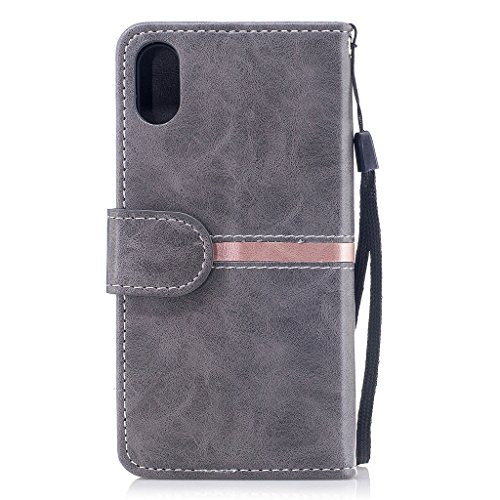 Per iPhone X Cover , YIGA elegante nero Retro Modello Design Con Book style Internamente Silicone TPU Cover Flip Funzionalità di Supporto cuoio Case in Premium pelle Protettiva Flip Custodia per Apple dy-gray