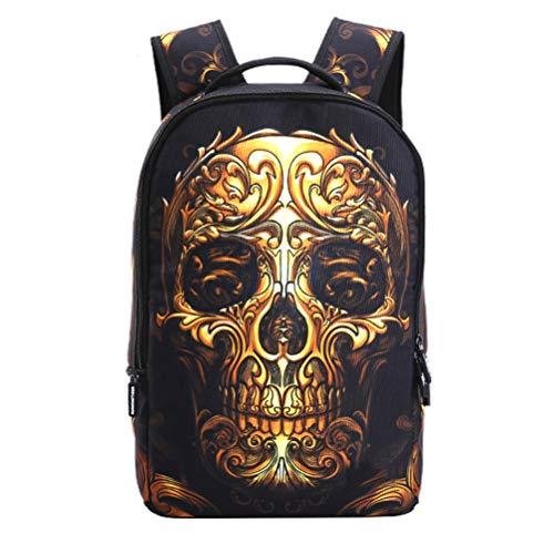 Schulrucksack für Unisex Jugendliche Schädel Muster Damen Herren Reise Rucksack Taschen Freizeit Laptoptasche Backpack (Gold)